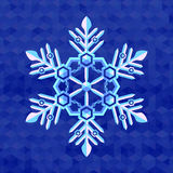 Christmas snowflake greeting card template. Christmas snowflake pearl flat colors on blue snow background Royalty Free Stock Image