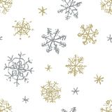 Christmas snowflake hand drawing seamless pattern on white. Like child`s drawing crayon or pencil gold and silver color snow. Like child`s drawing crayon or vector illustration