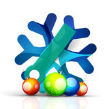 Christmas snowflake with infographic stickers Royalty Free Stock Photography