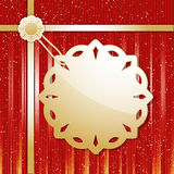Christmas snowflake label and ribbon Stock Image