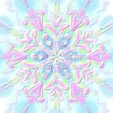 Christmas snowflake relief convex pink-blue. Digital painting stock illustration