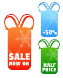 Christmas snowflake sale tags Royalty Free Stock Photos