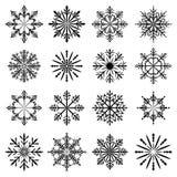 Christmas snowflake set. Christmas snowflake silhouette vector set stock illustration