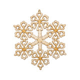 Christmas snowflake shape decoration made wood tree Royalty Free Stock Photos