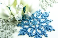 Christmas snowflake and silver  balls Royalty Free Stock Image