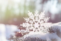 Christmas Snowflake with soft colors. A Christmas snowflake decoration standing on a snow covered tree branch. Soft colors perfect for a Christmas Card Stock Images