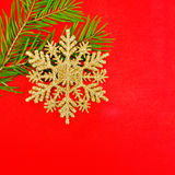 Christmas snowflake with sprigs of spruce Royalty Free Stock Photos