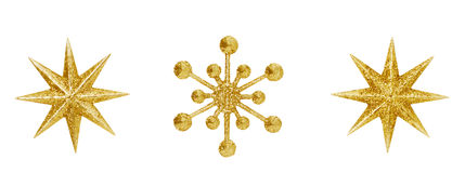 Christmas Snowflake Star Hanging Decoration Xmas Toys. Christmas Snowflake Star Hanging Decoration, Golden Decorative Xmas Toys Ornate Isolated Over White stock images