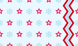 Christmas snowflake and star vector seamless pattern background. For New Year winter holiday greeting card. Vector simple flat line snow and zigzag simple line Stock Images