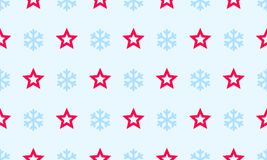 Christmas snowflake and star vector seamless pattern background for winter holiday greeting card. Vector simple flat line snow fla. Kes for New Year decoration Royalty Free Stock Photography