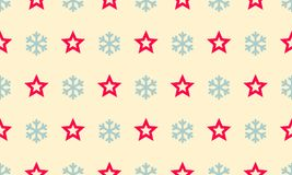 Christmas snowflake and star vector seamless pattern background. Christmas snowflake and star vector seamless pattern background for winter holiday greeting Stock Photos