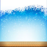 Christmas snowflake and starlight with wood floor abstract bakcg. Round vector illustration eps10 001 Stock Image