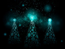 Christmas snowflake trees Royalty Free Stock Image