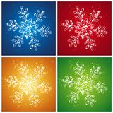 Christmas snowflake, vector. Four  christmas snowflake over color background, vector Royalty Free Stock Photos