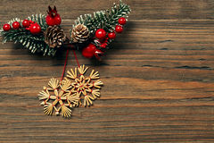 Christmas Snowflake Wood Background, Winter Straw Snow Flakes Stock Photography