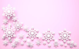 Christmas snowflakes. 3D Christmas snowflakes on pink background Royalty Free Stock Photography