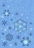 Christmas snowflakes and falling snow design. Blue Christmas snowflakes Stock Photo