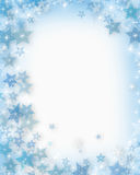 Christmas Snowflakes. Illustrated Background, border or frame for Christmas with snowflakes and sparkling lights Stock Images