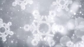 Christmas snowflakes background with glittering bokeh, white theme.  Stock Photo