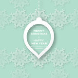 Christmas Snowflakes background with paper ball Stock Images