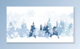 Christmas Snowflakes on Background with a silhouette of trees. V Royalty Free Stock Images