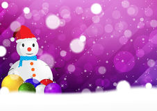 Christmas snowflakes background with snowman and christmas ball vector illustration. Rgb mode Stock Photos