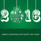 Christmas Snowflakes ball and numbers 2016 on green background Stock Image