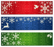 Christmas snowflakes banner backgrounds set Royalty Free Stock Photos