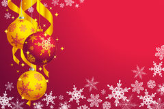 Christmas: snowflakes and baubles. Snowflakes and yellow and red baubles Royalty Free Stock Photos
