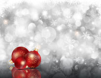Christmas snowflakes and baubles. Decorative Christmas background with baubles on a snowflake background Stock Images