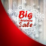 Christmas snowflakes with big sale. + EPS10. Christmas snowflakes with big sale over wooden background. + EPS10 vector file Royalty Free Stock Image