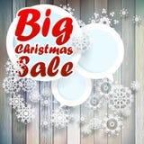 Christmas snowflakes with big sale. Christmas snowflakes with big sale over wooden background. EPS 10 Royalty Free Stock Photo