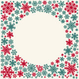 Christmas snowflakes  card (circle space for text) Stock Photography