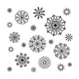 Christmas snowflakes collection, circle ornament set, ornamental Stock Photography