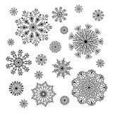 Christmas snowflakes collection, circle ornament set Stock Photos