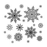 Christmas snowflakes collection, circle ornament set, ornamental Royalty Free Stock Images