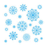 Christmas snowflakes collection, circle ornament set, ornamental Stock Image
