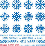 Christmas  snowflakes designs in pixel style Royalty Free Stock Photo