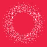 Christmas snowflakes flat decoration vector. Winter red and white background round frame design in two colors very bright Stock Photography