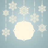 Christmas snowflakes with frame for text Stock Photos
