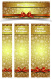Christmas Snowflakes Gold Web Banners Royalty Free Stock Image