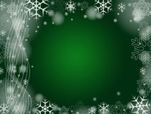 Christmas snowflakes in green. Green christmas background with snowflakes and bands Stock Photos