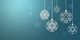 Christmas snowflakes hanging - Cristmas and New Year holidays - holiday tree decoration. Blue background and white snowflakes vector illustration