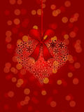Christmas Snowflakes Heart Ornament Red Background. Christmas Snowflakes Heart Shape Ornament on Red Blurred Background Illustration Stock Photo