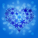 Christmas Snowflakes Heart Shape Blurr Background Stock Photos