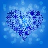 Christmas Snowflakes Heart Shape Blurr Background vector illustration