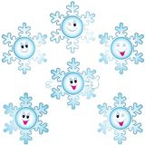 Christmas snowflakes icon set. Winter symbol vector illustration. Objects have faces with happy eyes, laughing smiles, easy to change color Vector Illustration