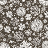 Christmas  snowflakes over wooden  background, vector Royalty Free Stock Photo