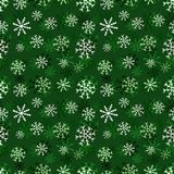 Christmas snowflakes pattern. Winter seamless texture. Vector green background template. Royalty Free Stock Image