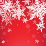 Christmas snowflakes on red background. Royalty Free Stock Photography